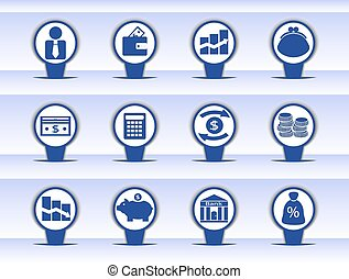 various financial icons with images of coins, banknotes, stock exchanges and other financial aspects