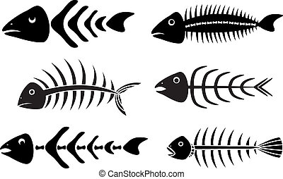 various fish bones stencils vector