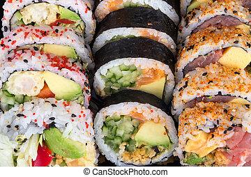 various fish sushi plate