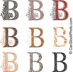 Various fishnet letter B. - Set of variations fishnet (lace...