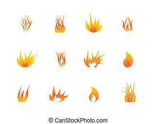 Various flames icon set - Flames in various shapes and ...
