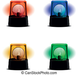 detailed illustration of a flashing lights in various colors, symbol for alert, warning and emergency