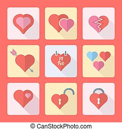 various flat style heart icons set