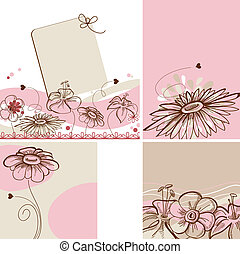 Various floral cards, retro style