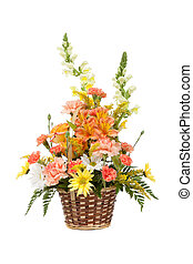 Various flowers arranged in basket on a white background