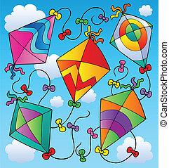 Various flying kites on blue sky - vector illustration.