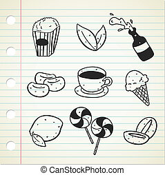 various food and drink icon doodle