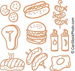 Various food of doodle set