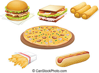 various foods - illustration of various foods on a white...