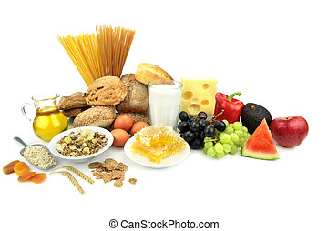 Various foods, isolated on white background.
