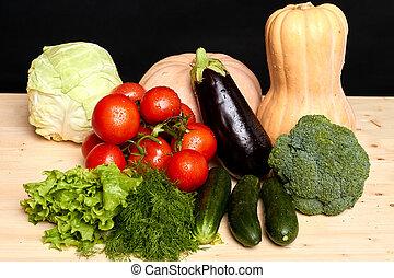 Various fresh clean vegetables, grown in local organic greenhouses