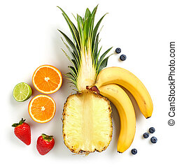 various fresh colorful fruits