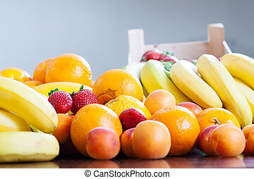 various fresh fruits at table