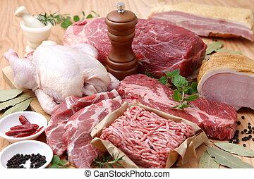 Various Fresh Meats - studio shot of fresh meats