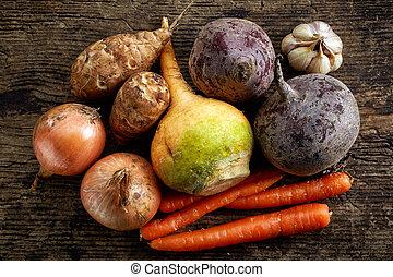 various fresh raw vegetables