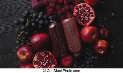 Various fresh red, purple black fruits. Mix of fruits and ...
