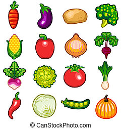 Vegetables Icon Set - Various Fresh Vegetables Icon Set...