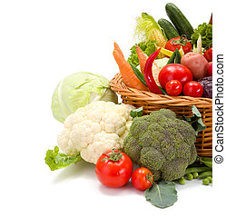Various fresh vegetables in basket