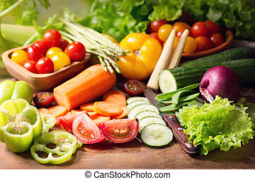 fresh vegetables on cutting board