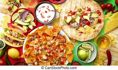 Various freshly made Mexican foods assortment. Placed on...