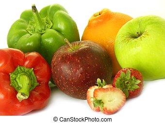 various fruit & veg - various fruit and veggies,isolated