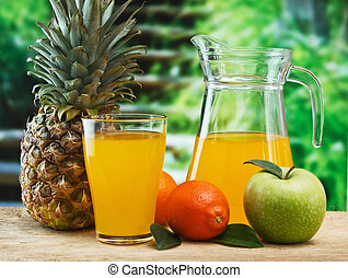 various fruits and juice