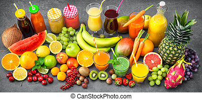 Various fruits and vegetables juices