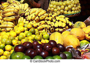 Various fruits at local market in India
