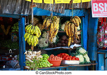 Ripe fruits stacked at a local market in nairobi  Nairobi,    stock
