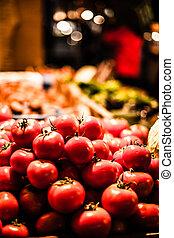 Various fruits at vegetable market.