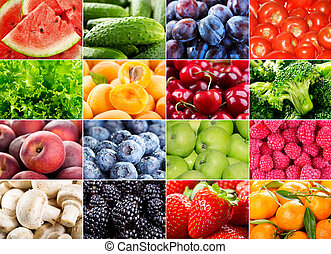 various fruits, berries, herbs and vegetables - collage with...