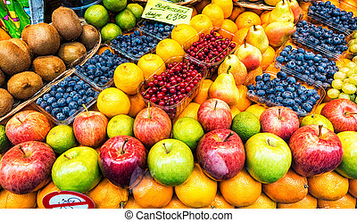 Various fruits for sale at a market