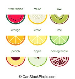 Various fruits icons on a white background