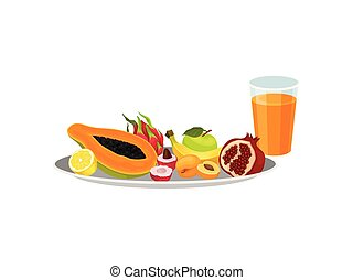 Various fruits on a round plate next to a glass of juice. Vector illustration.