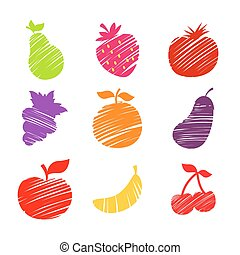 Various Fruits Sketched Illustratio