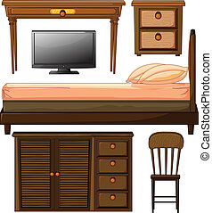 Various furnitures and lcd television - Illustration of...