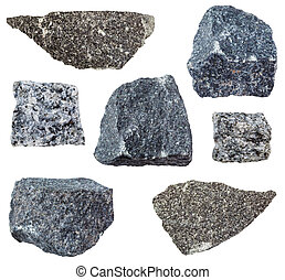 various Gabbro rocks isolated on white