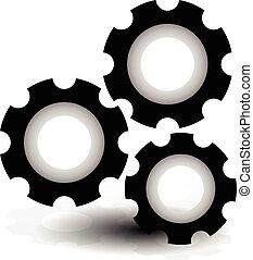 Various gear wheel, rack wheel vector graphics. Mechanics, manufacturing, industrial or maintenance, rework, repair themes.