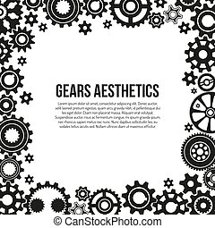 Various gears and cogwheels in engagement frame template