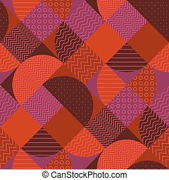 Various geometric shapes seamless pattern. Red-brown...
