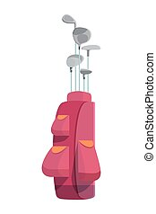 Various golf clubs in pink cart bag or case with pockets isolated on white background. Stylish golfer equipment or accessories for sports outdoor activity. Colorful flat vector illustration.