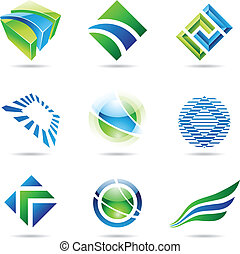 Various green and blue abstract icons isolated on a white background