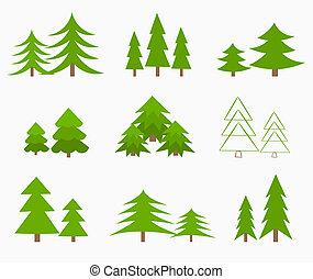 Various green Christmas trees. Vector illustration