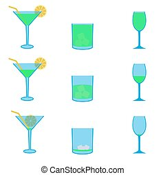 various green drinks full and empty icons set eps10