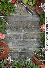 Various green herbs