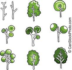 Various green tree in doodles