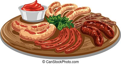 grilled roasted sausages