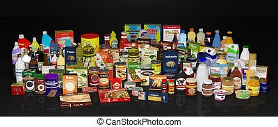 Various grocery products, on black background with reflections.