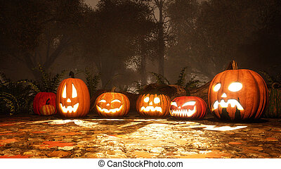 Various halloween pumpkins in fall forest at dusk - Close up...