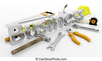 Various hand tools with 3D word Business, isolated on white background.